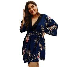 Original designer Flower Long Sleeve High Waist Loose Plus Size Dress Women Vestido Casual Summer Lace Up Deep V-Neck Boho Dress недорого