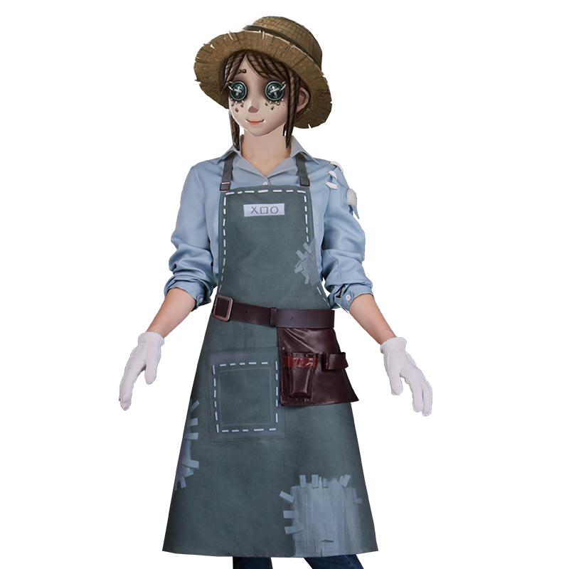 2018 Game The Fifth Personality Gardener Emma Woods Apron Cosplay Costume Blue Shirt With Apron Halloween Party For Women