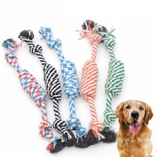 1PC Random Color New 27CM Dog Pet Puppy Chew Cotton Rope Ball Braided Knot Toy Durable Bone Funny Tool AA