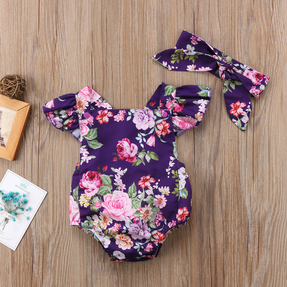 Summer Newborn Infant Baby Girls Floral Triangle Bodysuit Jumpsuit Outfits Clothes