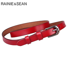RAINIE SEAN Повседневный Ремень Женщины Натуральная Кожа Коровы Vintage Ремень Pin Красный Твердый