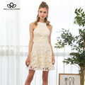 Bella Philosophy autumn winter Sexy halter backless O-Neck hollow out lace dress blue white