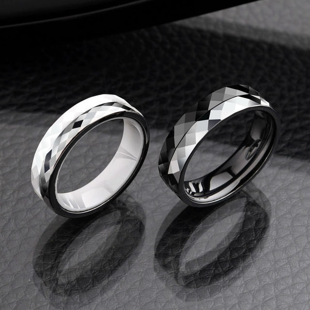 New Arrival Lovers Tungsten Carbide Rings With Black White Ceramic