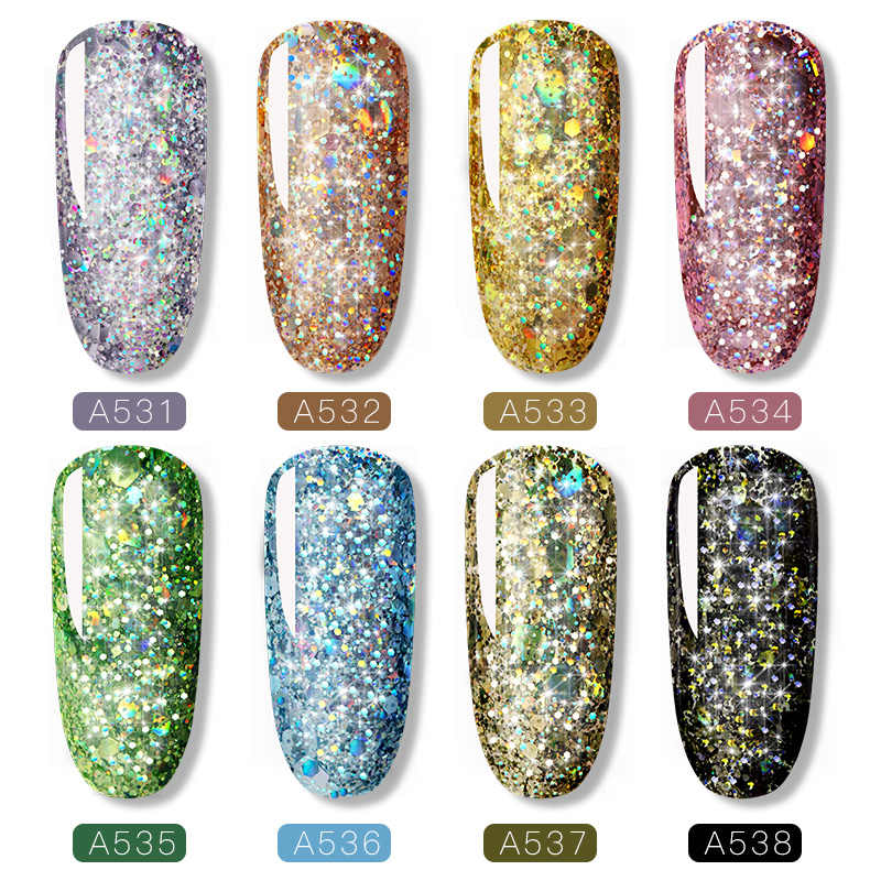 ROSALIND 5ml diamante brillante esmalte de uñas en Gel con purpurina barnices híbridos para manicura arte de uñas diseño Gel polaco Top y Base Set
