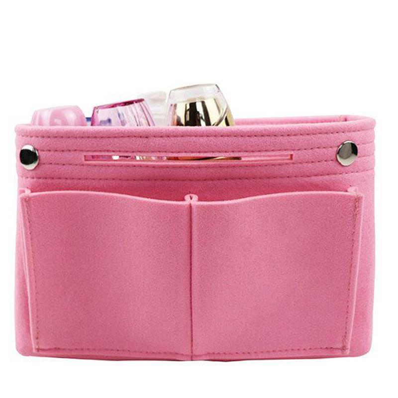 Fashion Retro Portable Felt Cosmetic Bag Purse Organizer Insert Multi-Purpose Handbag Organizer Insert Cosmetic Bag For Travel