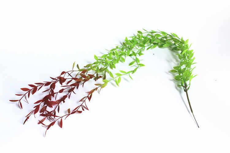 Sztuczne rośliny z wikliny zielony roślin wiszący ogród dekoracji sztuczne wierzby rattan 5 widelec widelec z tworzywa sztucznego z wikliny 1 metr ADG003