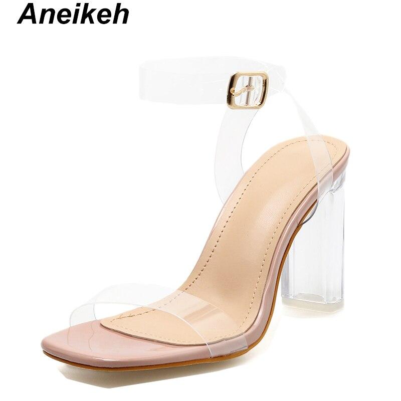 11CM Transparente Cristal Chunkly Heel Remaches Sandalias Mujer Moda Abierto Remaches de color Correa de tobillo Hebilla del cintur/ón Sandalias Zapatos De Vestir Tama/ño 35-40 de la UE