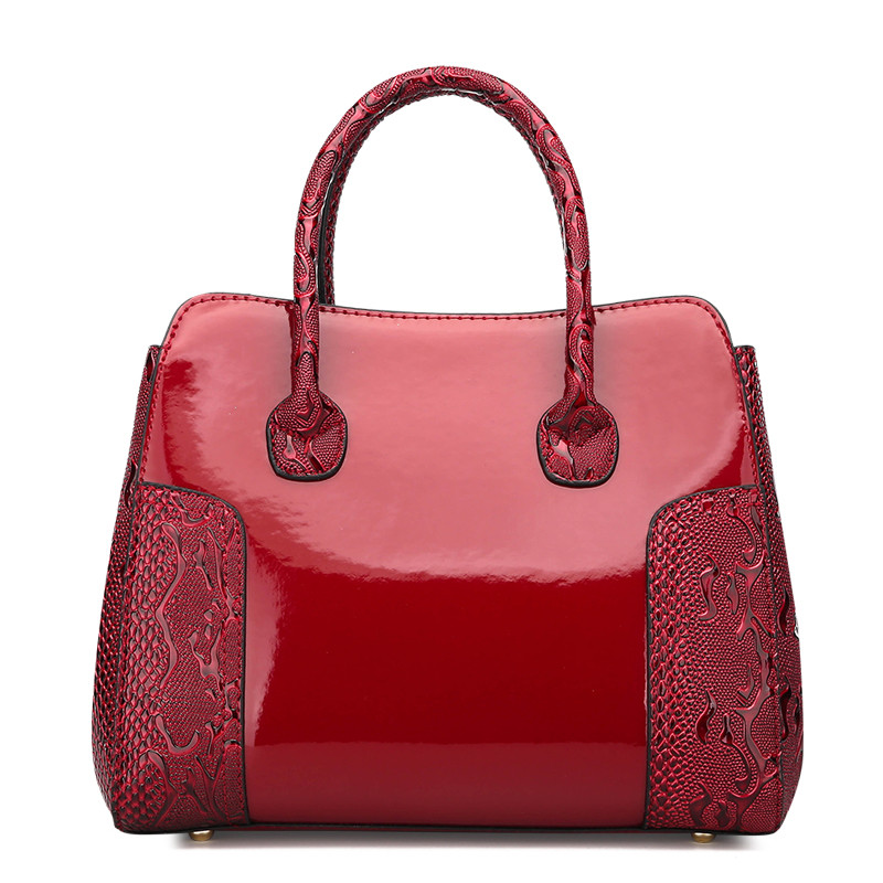 Red Patent Leather Tote Bag Handbags Women Famous Brand luxury designer Lady's Lacquered Handbag bags for Women Shoulder Bag Sac 2017 women bag famous brand designer sac luxury handbag women bag leather shoulder bag women crossbody bag for women s handbags