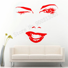Hot Charming Winking Wall Sticker Vinyl Art Removeable Poster Beauty Girl Mural Fashion Women Decor Spa Hair Salon Decals LY837