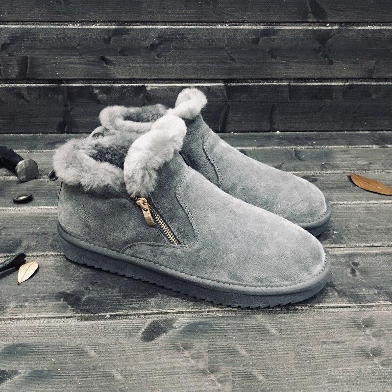 Comfort De Curta Dedo Boots Bota cinza Pé Tamanho Aa60849 amarelo slip Pelúcia Inverno 35 45 Preto Botas Homens Quente Redondo Anti marrom Unisex Casal Lã Ankle Do Neve qTwdwRnX