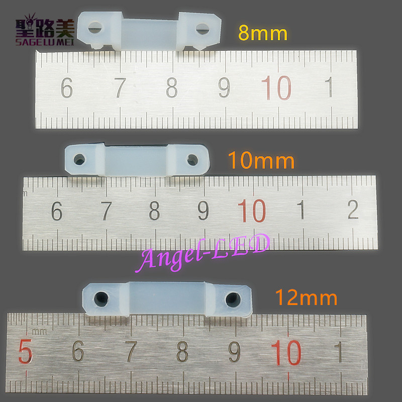 Free Shipping 8mm 10mm 12mm LED Strip Silicon Clip Connector & Screw For flexible SMD5050 RGB Single Color tape fixing holder 1pcs rgb connector 4pin 1 to 2 3 4 cable rgb led flexible strip female connector for smd 3528 5050 rgb strip light