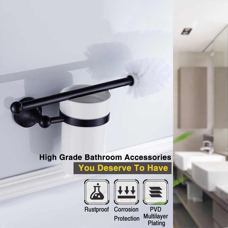 블랙 욕실 액세서리 세트 벽 마운트 헤어 드라이어 랙 골동품 WC 종이 타월 홀더 화장실 브러시 홀더 욕실 하드웨어