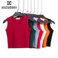 Camiseta sin mangas con ombligo para mujer, camiseta de cintura alta, botón para el vientre, camisetas cortas para mujer