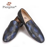 2017 new arrival Handmade men Genuine Leather shoes with Serpentine printing designs Party and Wedding men loafers male's flats