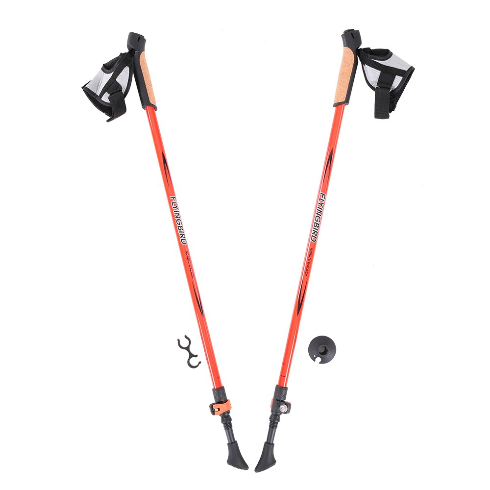 2PCS Pair Carbon Fiber Ultralight Trekking Poles Walking Stick Anti Shock Absorber System Hiking Pole Elastic