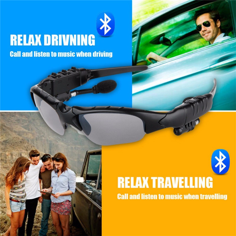 Bluetooth Sunglasses Outdoor Smart Sun Glasses Wireless Headset with Microphone for Smart Phones black normal 9
