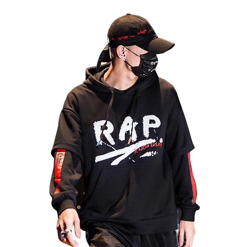 2019 New RAP EU Size Streetwear Hoodies Men Hip Hop Streets Sweatshirt Long Sleeves With Zipper hoodie japanese style