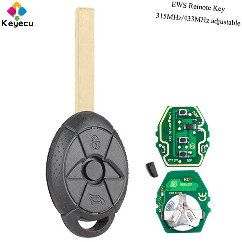 KEYECU Ersatz EWS Remote Key-3 Taste & 433 MHz/315 MHz Einstellbar ID44 Chip für BMW Alt mini Cooper S R50 FCC ID: LX8 FZV