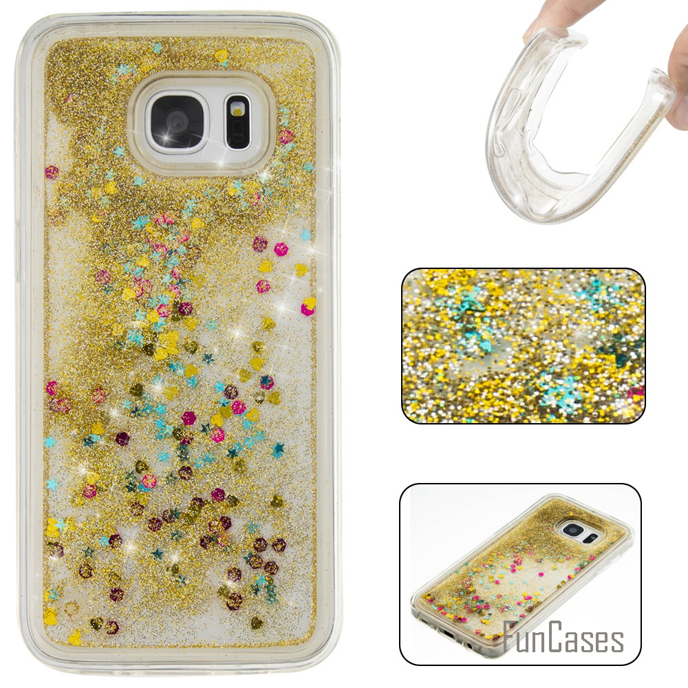 Coque Bling Love Heart Soft TPU Phone Case Cover For Samsung Galaxy S7 Edge Funda Quicksand Cell Phone Case For Samsung S7 EDGE