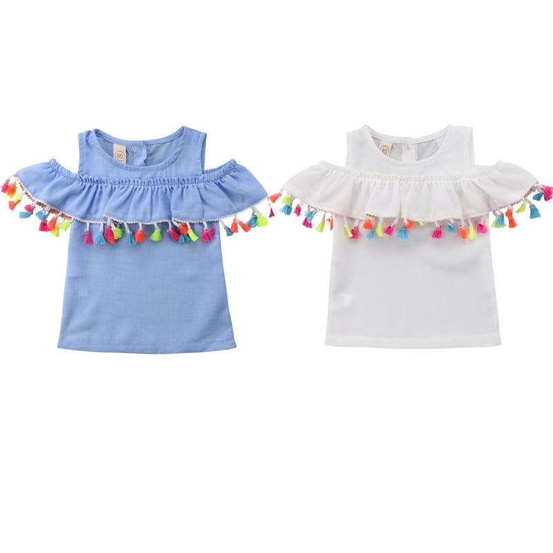 dec981553bf8f6 Kleinkind Baby Mädchen Sommer Süße Beiläufige T-Shirts Tops 2 Style  Schulterfrei Kurzarm Rüschen Solide Quaste T-Shirts 6M-4Y ~ Free Shipping  July 2019