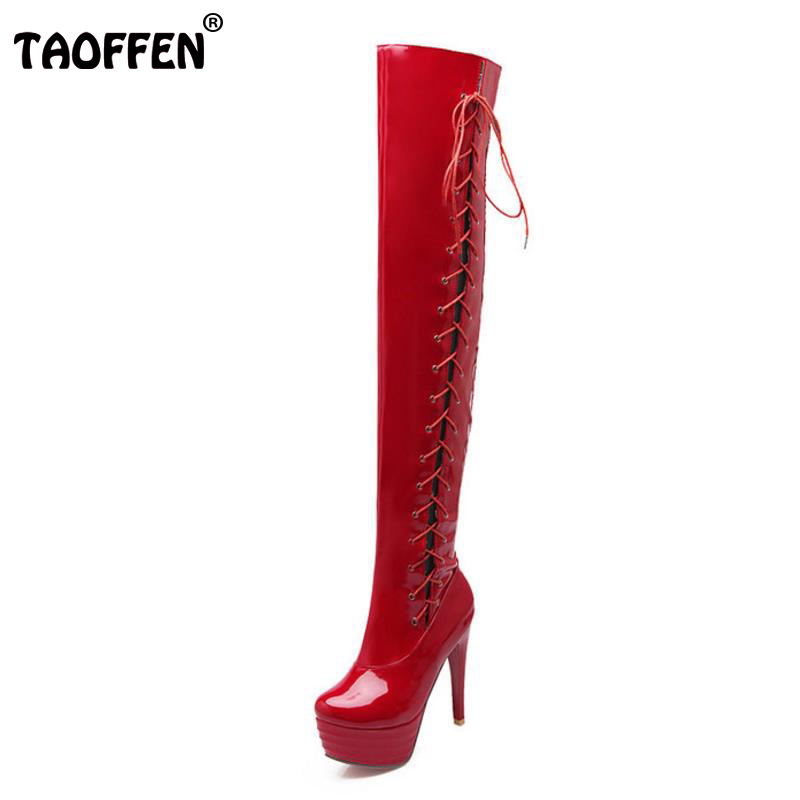 TAOFFEN size 32-43 women high heel over knee boots cross strap winter warm riding long boot sexy heels footwear shoes P20688 size 31 45 women real genuine leather high heel over knee boots winter warm long boot riding quality sexy footwear shoes r8297