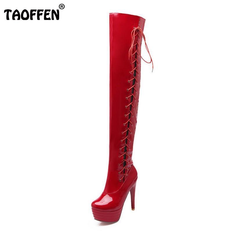 TAOFFEN size 32-43 women high heel over knee boots cross strap winter warm riding long boot sexy heels footwear shoes P20688