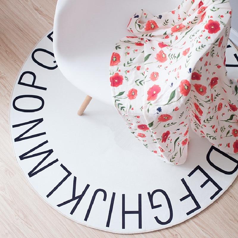 Durchmesser 120 Cm Englisch Alphabet Babyspielmatten Teppich Teppiche Kriechende Umfassende Nordischen Stil Kinderzimmer Dekor Matte Fr