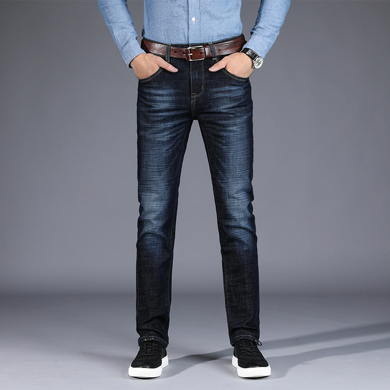 Jeans Men Straight Denim Jeans Uomo Trousers Plus Size 28-42 High Quality Cotton Brand Orange Buttons Men`s Jeans airgracias elasticity jeans men high quality brand denim cotton biker jean regular fit pants trousers size 28 42 black blue