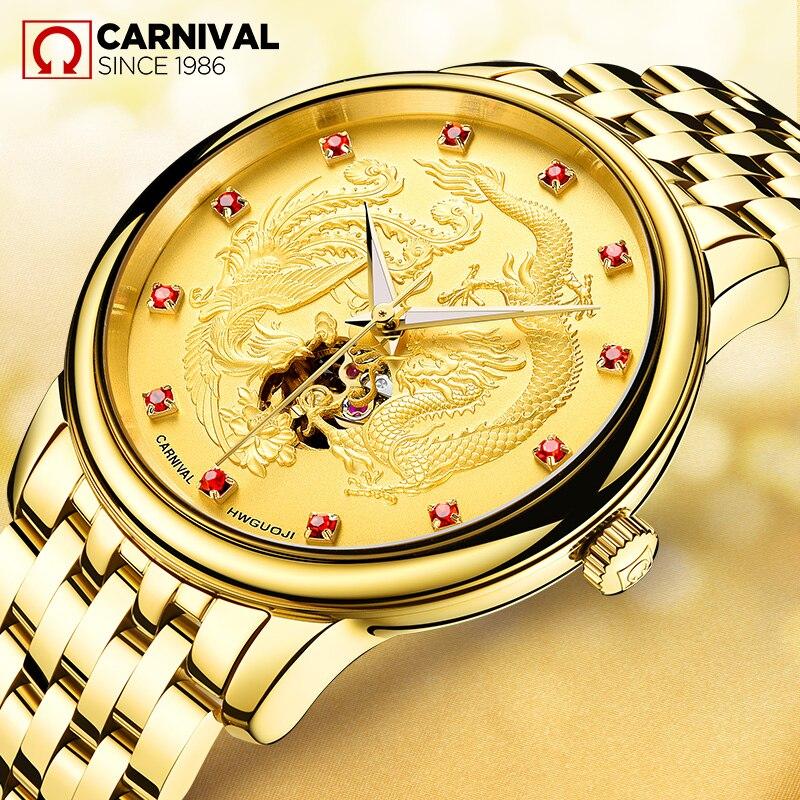 Carnaval marque de luxe automatique mécanique montre hommes militaire étanche dragon horloges saat relogio masculino reloj montre uhren