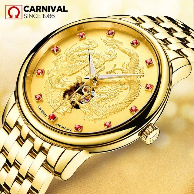 eebd9c7da64 Carnaval relógio mecânico automático dos homens de luxo da marca à prova d   água militar