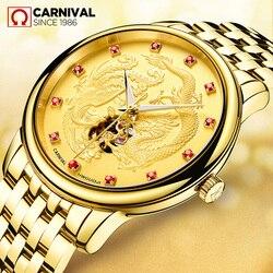 Karnawał luksusowej marki automatyczne mechaniczne zegarka mężczyzna wojskowy wodoodporny smok zegary saat relogio masculino reloj montre uhren Zegarki mechaniczne Zegarki -