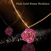 Dropshipping 24K Gold Metal Artificial Roses Necklace in Red for Wedding Artificial Decorations Best Girlfriend Birthday Gifts