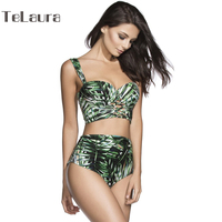 2017 Bikinis Women Swimwear Push Up Swimsuit High Waist Bikini Bandage Biquinis Brazilian Bikini Set Print