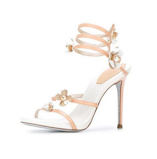 snakelike rhinestone flower sandals summer woman high heel nude leather sandal flower snake strap high heel woman sexy sandal зимняя шина sailun ice blazer wst1 235 70 r16 106t п ш