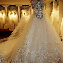 Custom Made Crystal Sequined Wedding Dress Court Train