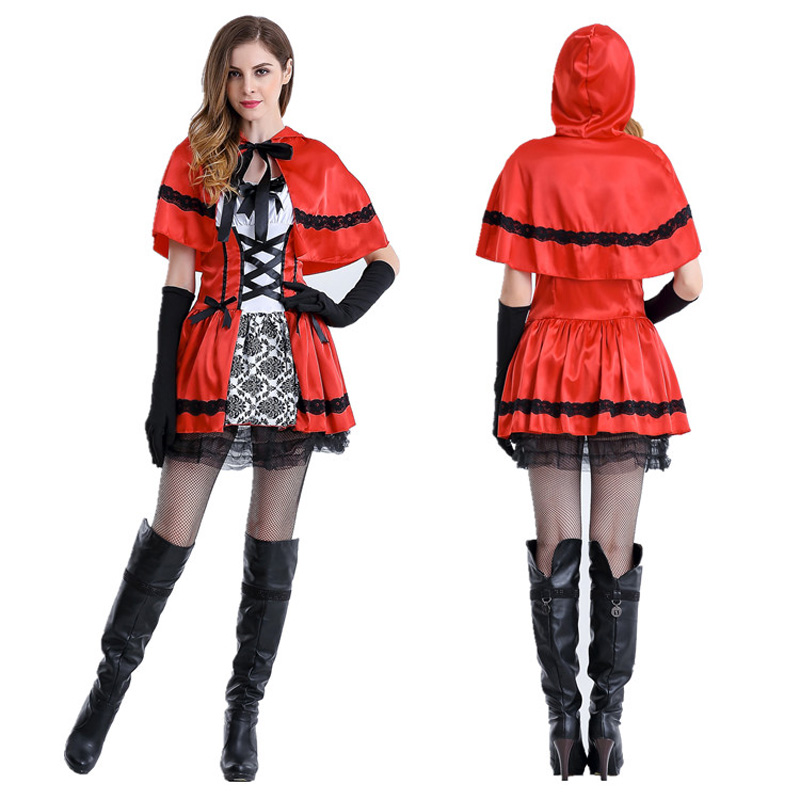 <font><b>Sexy</b></font> Cardinal Little Red Riding Hood Costume Small Red <font><b>Cap</b></font> <font><b>Sexy</b></font> carnival Halloween Costumes for Women adult cosplay Party Dress image