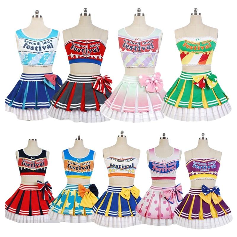 Love Live Cheerleaders Cosplay Costumes Kotori Minami Sonoda Umi Nozomi Tojo Eli Ayase Nine Girls Cheerleaders Team Halloween