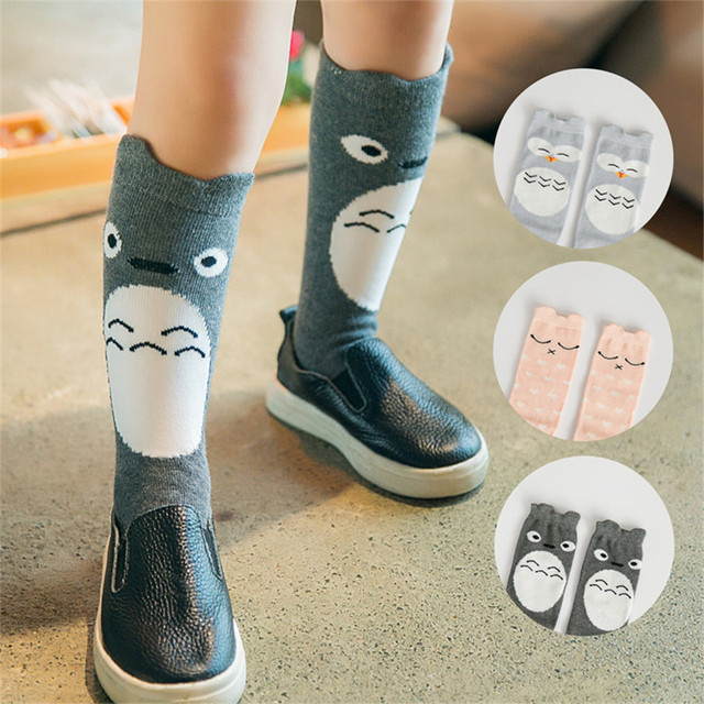 975ef2e5fd1 Cute Anti-Slip Cartoon Totoro Kids Socks Cotton Baby Kid Knee High Socks  Baby Girls Socks 1 Pair lot Warm Children Socks