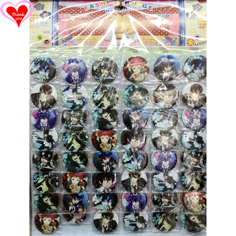 Love Thank You Blue Exorcist 45MM 16/24/32/40/48 հատ հատ PIN BACK BADGE BUTTON BROOCH for BAG GIFT TOY CLOTH Cartoon & anime