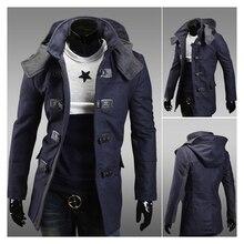 Men's Warm Winter Trench Coat Long Jacket Zip Button Hoodie Overcoat Outwear NWT