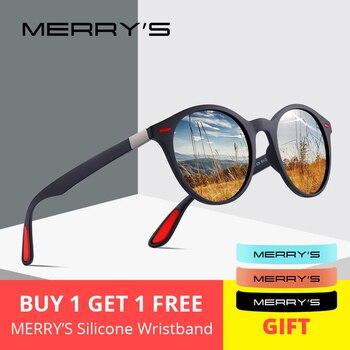 MERRYS TASARıM Erkekler Kadınlar Klasik Retro Perçin Polarize Güneş Gözlüğü TR90 Bacaklar Çakmak Tasarım Oval Çerçeve UV400 Koruma S8126