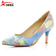 Fashion Women Multi Coloured Floral Print Pumps 2016 new arrival spring autumn red bottoms pointed feminine shoes kitten heel