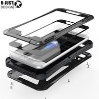 R JUST Real Waterproof Shockproof X Men Glass Metal Case For Apple Iphone 6 6s Plus