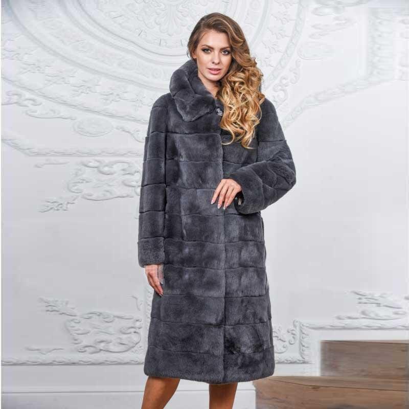 light Manteaux En Les Grey Vestes Hauts Réel Nature Mode Wholeskin Dark D'hiver Lapin Cagoules Rex Femmes Pour Grey long Fourrure Avec X Chaud De qB6t0xg