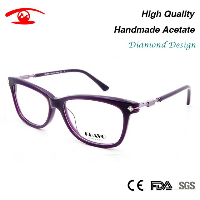 Novas Mulheres Óculos De Luxo Feitos À Mão Acetato oculos de grau feminino Strass Óculos lentes opticos mujer Lente Clara