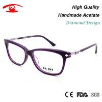 New Women Luxury Eyeglasses Handmade Acetate Oculos De Grau Feminino Rhinestone Eyewear Lentes Opticos Mujer Clear