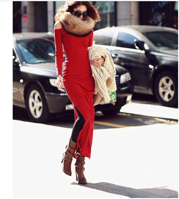 2016 new spring long dress female fashion sexy Strapless turtleneck font b sweater b font dress