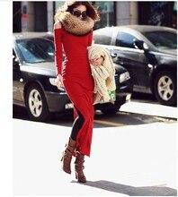 2016 new spring long dress female fashion sexy Strapless turtleneck sweater dress slim package hip split
