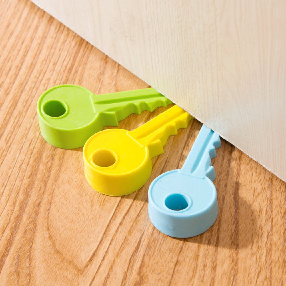 Convenient Cute Silicone Rubber Door Stopper Key Style Home Decor Finger Safety Protection Wedge Safe Doorstop @LS AU14