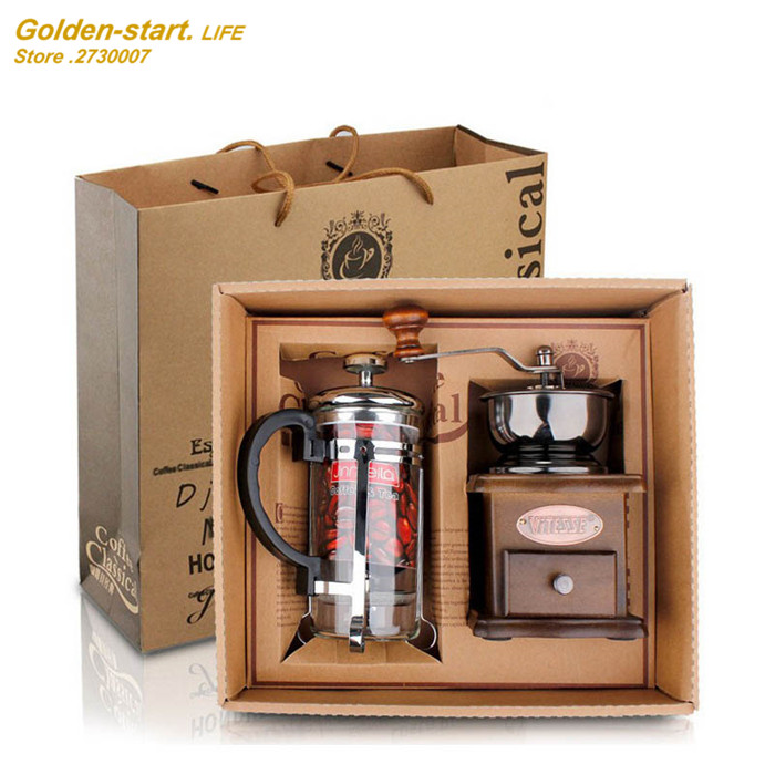 Coffee equipment coffee grinder + coffee pressure pot Manual coffee Bean grinding machine Gift Box 1 set gift box set handleless pot pillar cup filter cup drip coffee maker grinder home use can send a person top grade coffee gift box